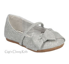 New Flower Girl Baby Toddler Silver Glitter Shoes Flats Mary Jane Bow Christmas