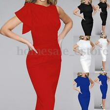 Fashion Women Lotus Bodycon Formal Pageant Pleated Peplum Slim Pencil Midi Dress