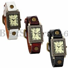 Vintage Women Ladies Girls Leather Band Square Dial Roman Numerals Sport Watch