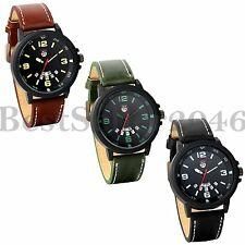 Military Leather Band Mens Date Week Quartz Watch Army Sport Wrist Watches