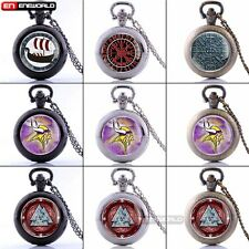 Norse Myth Viking Warrior Antique Pocket Watch Chain Quartz Pendant Necklace New