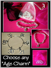 Silver Plated Bracelet 16th 18th 21st 30th 40th 50th 60th Age Charm Bracelet
