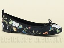 GUCCI black KRIS KNIGHT FLORA canvas Bow ALI Ballerina flat shoes NIB Authentic!
