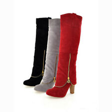 Women's Faux Suede Leather Pointy Toe High Heels Block Over The Knee Boots Sz C