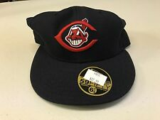 NWT CLEVELAND INDIANS NAVY AND RED RETRO FLAT BRIM NEW ERA 5950 FITTED HAT