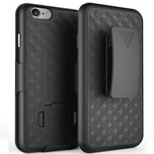BLACK RUBBERIZED HARD CASE + BELT CLIP HOLSTER w/ STAND FOR APPLE iPHONE 6 PLUS