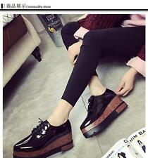School Womens PointedPlatform Wedge Lace Up Patent Leather Oxford Shoes retro