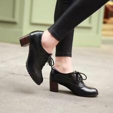 Retro Womens Chunky Heels Lace Up Brogues carving Lady oxford Shoes Pumps sz