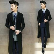 New Mens Chic Long Slim Fit Trench Lapel Overcoat Coat Business Jacket parka Hot