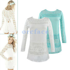 Fashion Sexy Ladies Long Sleeve Floral Crochet Lace Top Shirt Causal Blouse