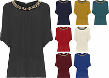 Womens Plus Chiffon Necklace Party Top Ladies Sheer Lined Short Sleeve Plain