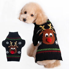 Pet Dog Christmas Clothes Costumes Puppy Cat Knit Sweater Coat Hoodie Apparel EF