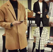 Fashion Men's parka Wool Blend plaid Long Trench Coat Jacket slim fit Outerwear