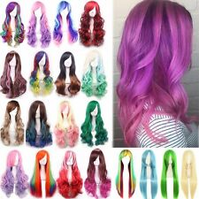Fashion Women Long Anime Full Hair Wigs Rainbow Curly Wavy Straight Deluxe Wig #