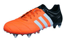 adidas Ace 15.1 SG Leather Mens Soccer Boots / Cleats - Orange Black