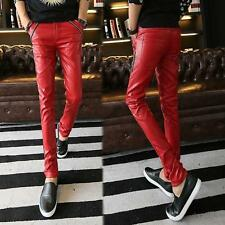 Mens Fashion casual pants Pants Slim skinny pu leather trousers Size Colors New