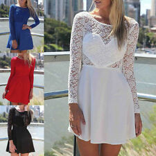Women Ladies Long Sleeve Vintage Lace See Through Mini Dress Cocktail Party