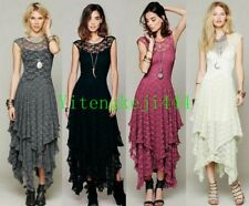 PUNK GOTHIC Women Formal Gown Prom Lace Asymmetric Falbala Long Dresses New Hot