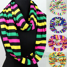 Fashion Women's Striped Candy Color Soft Infinity Loop Cowl Eternity Scarf New