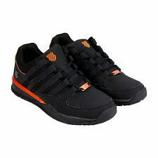K-Swiss Baxter Mens Black Leather & Synthetic Athletic Lace Up Training Shoes