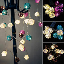 Xmas LED Rattan Balls Battery Operated Christmas Party Decor String Fairy Lights