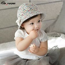 Cotton Bowknot Baby Hat Two Sided Cap Cute Child Floral Bonnet Baby Girl Sun Hat