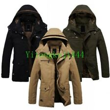 Mens Winter Hooded Jacket Warm Fur lined Military Outerwear Long Coat Parka New