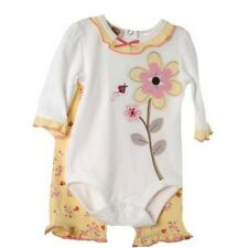 Sweet Baby Grand Yellow White Pink Infant Onsie Creeper w/Ruffled Floral Pants