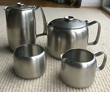 4 PIECE OLD HALL STAINLESS STEEL SATIN CONNAUGHT TEAPOT WATER JUG MILK JUG BOWL