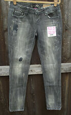 ALMOST FAMOUS BLACK DESTROYED COTTON SPANDEX GEM SKINNY LOW RISE JEANS 3 5 9 NEW