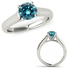 1 Ct Blue Diamond Solitaire Engagement Anniversary Bridal Ring 14K White Gold