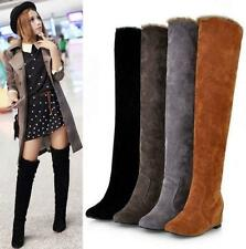 Womens Fur Lined Faux Suede Over the Knee hidden heel Winter Tall Thin Boots New