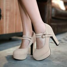Womens Sexy High Heels Platform 4Color Buckle Double Strap Party Shoes New Size