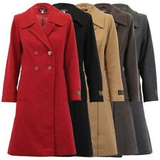 Ladies Wool Cashmere Coat Womens Jacket Double Breasted Outerwear Trench Winter