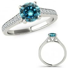 2.15 Carat Blue Diamond Fancy Beautiful Solitaire Victorian Ring 14K White Gold