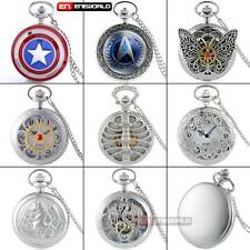 Silver Quartz Antique Pocket Watch Chain Vintage Necklace Pendant Xmas Gift UK