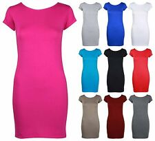 NEW LADIES PLAIN SHORT CAP SLEEVE LONG TOP WOMENS BODYCON STRETCH T-SHIRT DRESS