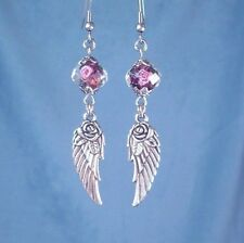 Angel Wing Rose Earrings Silver Wings Rose Bead Womens Fashion Dangle Made USA