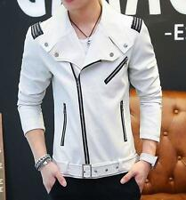 Mens faux Leather Coats Zipper Lapel Slim Fit Youth Casual moto Jackets Overcoat