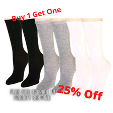 12 Pairs Women's Assorted Pack Cotton Crew Socks Size 9-11 Black White And Grey