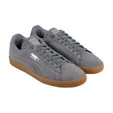 Puma Suede Classic Debossed Mens Grey Suede Lace Up Sneakers Shoes