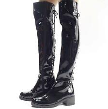 Mens Leather Riding Punk motorcycle Punk Over The Knee Boot stage show Shoes New