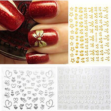 Christmas 3D Bowknot Heart Nail Art Tips Sticker DIY Decoration Manicure Decal