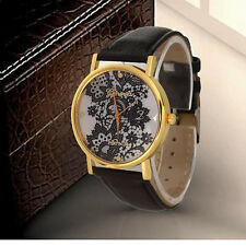 Vintage Women Ladies Lace Printed Analog Leather Band Casual Wristwatch Watches