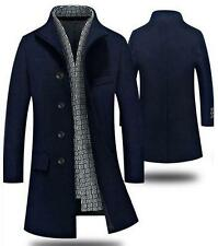 Hot Mens Single Breasted Slim Fit Mid Long Trench Coat padded Overcoat Outwear