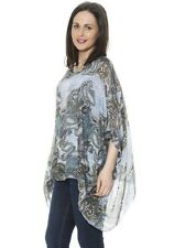 New Womens Italian Lagenlook Paisley Silk Flowy Baggy Tunic Top Size 10 12 14 16