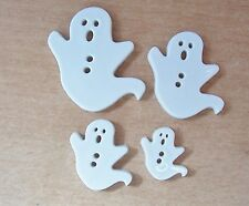4 SIZES FLAT WHITE GHOST NOVELTY BUTTONS/HALLOWEEN/CRAFTS