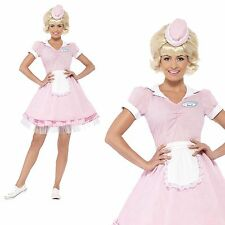 50s Diner Girl Fancy Dress Costume Outfit Womens Ladies Rock n Roll 1950s Pink