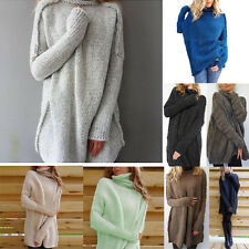 Casual Womens High Neck Loose Sweater Tops Long Sleeve Knitted Outwear Jumpers G