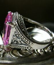 10ct Pink Gem Solid Sterling Silver Gothic Design Filigree Ring Size Any/MTO
